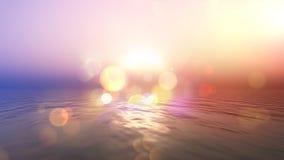 Océano de la puesta del sol con efecto retro Foto de archivo libre de regalías