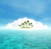 Océano e isla tropical con las palmas stock de ilustración