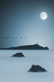 Océano iluminado por la luna Foto de archivo