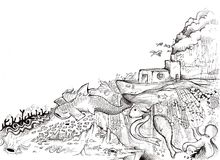 Océano mágico stock de ilustración
