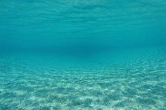 Océano Pacífico subacuático curvado del fondo del mar arenoso foto de archivo