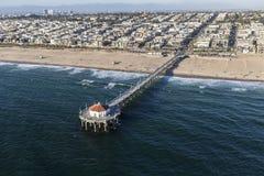 Océano Pier Aerial de Manhattan Beach California Imagen de archivo