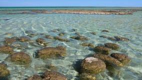 Océano y rocas con horizonte y el cielo metrajes