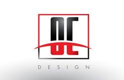 OC O C Logo Letters con colores rojos y negros y Swoosh Imagen de archivo libre de regalías