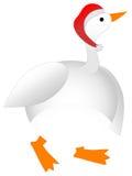 Oca grassoccia di natale del fumetto che porta il cappello della Santa Immagini Stock