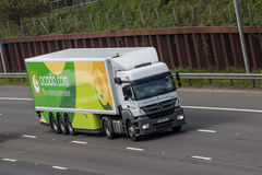 Ocado lorry in motion on the motorway royalty free stock image