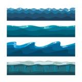 Océan de bande dessinée, mer, modèles sans couture de vecteur de vagues de l'eau Photographie stock libre de droits