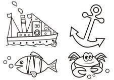 Océano - libro de colorear Imágenes de archivo libres de regalías