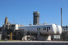 OCAP tanks at the Shell refinery, this carbon dioxide co2 is reused. In greenhouse nurseries in The Netherlands royalty free stock image