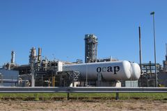 OCAP tanks at the Shell refinery, this carbon dioxide co2 is reused. In greenhouse nurseries in The Netherlands royalty free stock photos