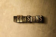 OCASIÕES - close-up vintage sujo da palavra typeset no contexto do metal ilustração stock