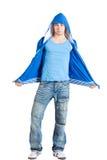 Ocasional vestida hermoso del hombre joven. Azul. Aislado Fotografía de archivo