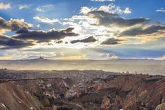 Ocaso en Capadocia Turquía Foto de archivo
