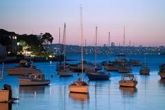 Ocaso en el puerto de Sydney Imagenes de archivo