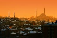 Ocaso en Estambul foto de archivo