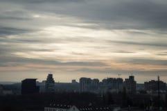 Ocaso frío en Kiev fotografía de archivo