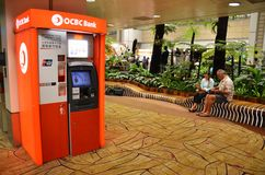 OCBC ATM machine located in the Changi airport in Singapore Royalty Free Stock Image
