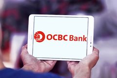 OCBC Bank logo. Logo of OCBC Bank on samsung tablet. OCBC Bank is a publicly listed financial services organisation Stock Photo