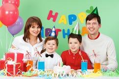 Occasion. Portrait of family celebrate birthday Stock Image