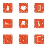 Occasion icons set, grunge style. Occasion icons set. Grunge set of 9 occasion vector icons for web isolated on white background Royalty Free Stock Image