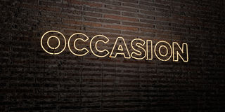 OCCASION -Realistic Neon Sign on Brick Wall background - 3D rendered royalty free stock image Stock Photos