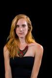 Occhi azzurri attraenti dei capelli biondi della fragola femminili Immagine Stock Libera da Diritti