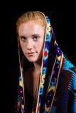 Occhi azzurri attraenti dei capelli biondi della fragola femminili Fotografia Stock