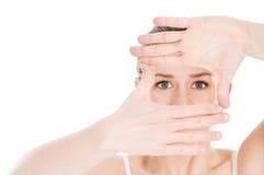 Occhi azzurri della donna immagini stock