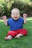 Occhi azzurri sorridenti fotografie stock libere da diritti