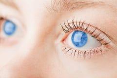 Occhi azzurri umani. immagini stock
