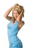 Occhi del vestito dall'azzurro di cielo della donna Fotografie Stock Libere da Diritti