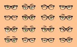 Occhi della femmina del fumetto Il primo piano colorato di vettore osserva con i vetri Insieme femminile della raccolta di immagi Fotografia Stock