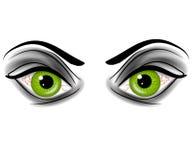 Occhi Demonic del diavolo verde diabolico Immagini Stock Libere da Diritti