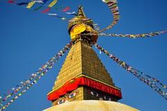 Occhi di Buddha - Boudhanath Stupa Fotografie Stock