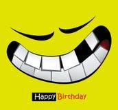 Occhi divertenti di sorriso della carta di buon compleanno Fotografie Stock Libere da Diritti