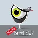 Occhi divertenti e sorriso della carta di buon compleanno Fotografie Stock