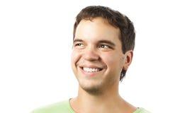 Occhi felici sorridenti dell'uomo dei giovani isolati su bianco Fotografie Stock Libere da Diritti