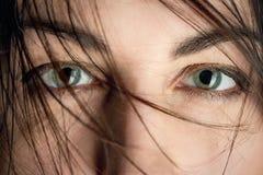Occhi fissati della femmina Fotografie Stock