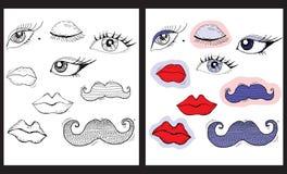 Occhi, labbra e baffi del fumetto Fotografia Stock Libera da Diritti
