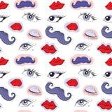 Occhi, labbra e baffi del fumetto Fotografie Stock Libere da Diritti