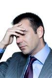 occhi preoccupati pensive dell'uomo d'affari chiusi Immagini Stock
