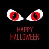 Occhi rossi diabolico nella notte scura. Carta felice di Halloween. Fotografia Stock