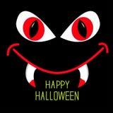 Occhi rossi e bocca diabolici con le zanne nella notte scura.  Fotografia Stock Libera da Diritti