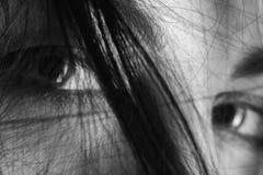 Occhi tristi della femmina Immagini Stock