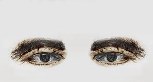 Occhi umani dipinti di un uomo anziano con le sopracciglia spesse - schizzo della matita e colorare a mano fotografia stock