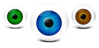 Occhi umani realistici, su fondo bianco con differenti colori immagine - ENV 10 Fotografie Stock Libere da Diritti