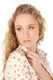 Occhi verdi dei capelli biondi Fotografie Stock