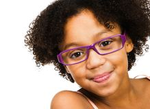 Occhiali da portare della bella ragazza Fotografia Stock Libera da Diritti
