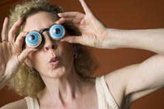 Occhiali da portare della novità della donna Immagine Stock Libera da Diritti