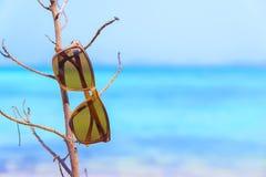 Occhiali da sole che si trovano sugli occhiali da sole tropicali della spiaggia di sabbia sulla spiaggia La bella carta da parati Fotografie Stock Libere da Diritti